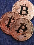 Bitcoins on Jeans royalty free stock photography
