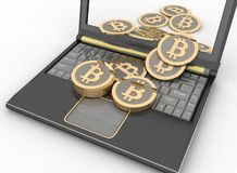 Bitcoins with laptop computer. 3d illustration on white background Stock Photography
