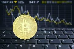 Bitcoins laptop keyboard virtual cryptocurrency concept Stock Photos