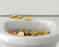 Bitcoins - limpiado con un chorro de agua abajo el retrete stock de ilustración