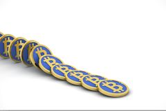 Bitcoins in line Stock Image