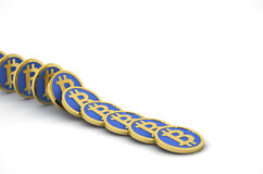 Bitcoins in line Royalty Free Stock Image