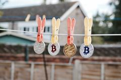 Bitcoins and Litecoins Royalty Free Stock Photography