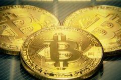 Bitcoins macro grote ronde mojo Royalty-vrije Stock Foto's