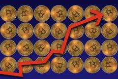 Bitcoins met pijl die benadrukken royalty-vrije stock afbeeldingen