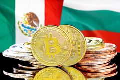 Bitcoins on Mexico and Bulgaria flag background. Concept for investors in cryptocurrency and Blockchain technology in the Mexico and Bulgaria. Bitcoins on the royalty free stock photo