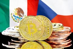 Bitcoins on Mexico and Czech Republic flag background. Concept for investors in cryptocurrency and Blockchain technology in the Mexico and Czech Republic royalty free stock photos
