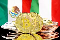 Bitcoins on Mexico and Italy flag background. Concept for investors in cryptocurrency and Blockchain technology in the Mexico and Italy. Bitcoins on the stock photography