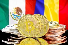 Bitcoins on Mexico and Moldova flag background. Concept for investors in cryptocurrency and Blockchain technology in the Mexico and Moldova. Bitcoins on the stock photo