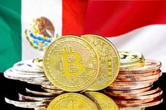 Bitcoins on Mexico and Monaco flag background. Concept for investors in cryptocurrency and Blockchain technology in the Mexico and Monaco. Bitcoins on the stock photo