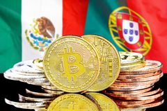 Bitcoins on Mexico and Portugal flag background. Concept for investors in cryptocurrency and Blockchain technology in the Mexico and Portugal. Bitcoins on the royalty free stock photo