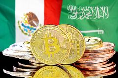 Bitcoins on Mexico and Saudi Arabia flag background. Concept for investors in cryptocurrency and Blockchain technology in the Mexico and Saudi Arabia. Bitcoins royalty free stock images