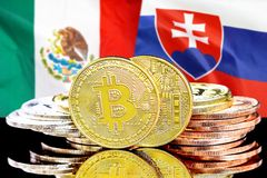 Bitcoins on Mexico and Slovakia flag background. Concept for investors in cryptocurrency and Blockchain technology in the Mexico and Slovakia. Bitcoins on the stock photography