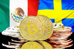 Bitcoins on Mexico and Sweden flag background. Concept for investors in cryptocurrency and Blockchain technology in the Mexico and Sweden. Bitcoins on the royalty free stock images