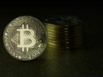 Bitcoins - moedas do cryptocurrency Imagens de Stock Royalty Free