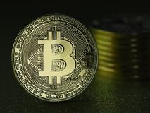 Bitcoins - moedas do cryptocurrency Imagens de Stock