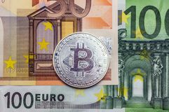Silver bitcoins is a monetary denominations of 100 and 50 euros. Bitcoins is a monetary denominations of 100 and 50 euros stock images