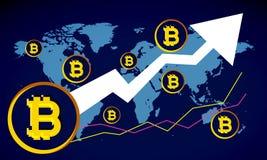 Bitcoins nad błękitną mapą od wierzchołka Zdjęcia Stock
