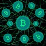 Bitcoins nelle bolle di sapone su fondo nero Fotografia Stock Libera da Diritti