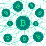Bitcoins nelle bolle di sapone su fondo nero Fotografie Stock Libere da Diritti