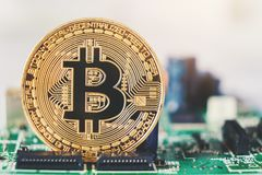 Bitcoins new virtual money on Circuits.  royalty free stock image