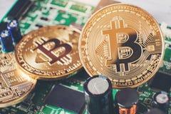 Bitcoins new virtual money on Circuits.  stock image