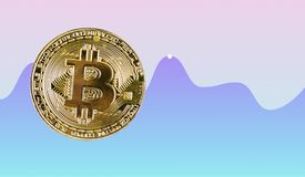 Bitcoin And Graph. Bitcoins and New Virtual money concept. Mining or blockchain technology stock illustration