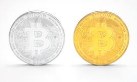 Bitcoins no fundo branco fotos de stock