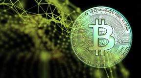 Bitcoins, nouvel argent virtuel sur le divers fond numérique, 3D rendent Photo libre de droits