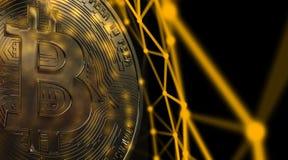 Bitcoins, nuovi soldi virtuali su vario fondo digitale, 3D rende Fotografie Stock Libere da Diritti