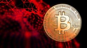 Bitcoins, nuovi soldi virtuali su vario fondo digitale, 3D rende Immagine Stock Libera da Diritti
