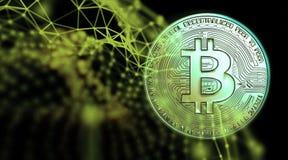 Bitcoins, nuovi soldi virtuali su vario fondo digitale, 3D rende Fotografia Stock Libera da Diritti