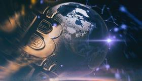 Bitcoins, nuovi soldi virtuali su vario fondo digitale, 3D rende Immagini Stock Libere da Diritti