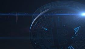 Bitcoins, nuovi soldi virtuali su vario fondo digitale, 3D rende Fotografie Stock