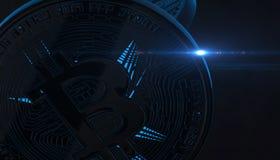 Bitcoins, nuovi soldi virtuali su vario fondo digitale, 3D rende Immagini Stock