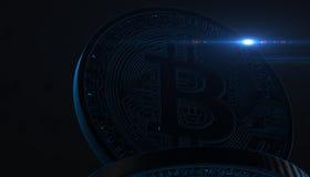 Bitcoins, nuovi soldi virtuali su vario fondo digitale, 3D rende Fotografia Stock