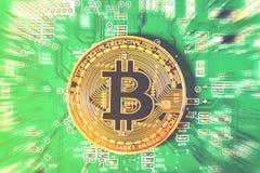 Bitcoins nya faktiska pengar och digitalt begrepp royaltyfria foton