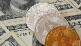 Bitcoins och dollar närbild Myntar bitkoyny lögn på hundra dollarräkningar Blockchain är teknologin av framtiden lager videofilmer