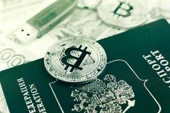 Bitcoins och rysspass Arkivbild