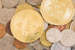 Bitcoins and other coins stock photos
