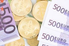 Bitcoins and other coins royalty free stock photos