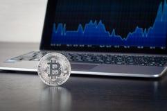 Bitcoins på tabellen på bakgrunden av bärbara datorn med schemat royaltyfria bilder