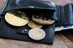 Bitcoins in personal wallet. With other coins stock photography