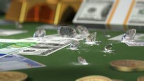 Bitcoins, pieniądze, złoto i diamenty,