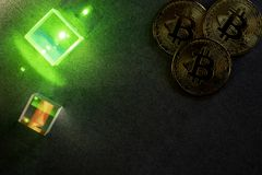 Bitcoins and prisms royalty free stock image