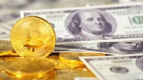 Bitcoins real criado como a moeda virtual contra dólares video estoque