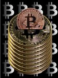 Bitcoins saving pot. Made out of big bitcoins on black background with Bitcoin logo Royalty Free Stock Image