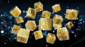 Bitcoins scambia la rappresentazione del fondo 3D Fotografia Stock Libera da Diritti