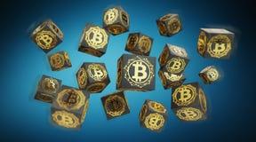 Bitcoins scambia la rappresentazione del fondo 3D Fotografie Stock