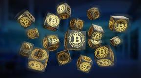 Bitcoins scambia la rappresentazione del fondo 3D Immagine Stock